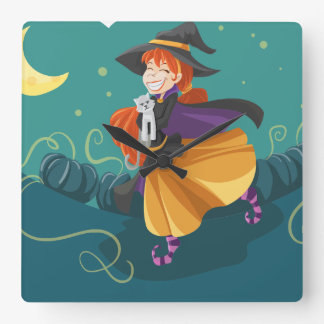 Laughing cartoon witch square clock
