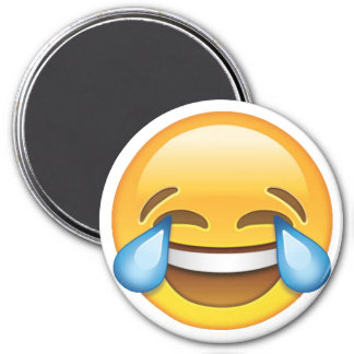 Laughing Crying Tears of Joy emoji 3 Inch Round Magnet