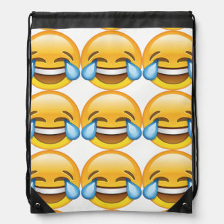 Laughing Crying Tears of Joy emoji Drawstring Bag