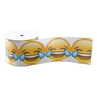 Laughing Crying Tears of Joy emoji Grosgrain Ribbon
