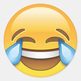 Laughing Crying Tears of Joy emoji Round Sticker