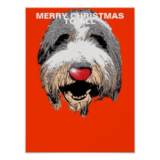 Laughing Dog Merry Christmas To All Poster