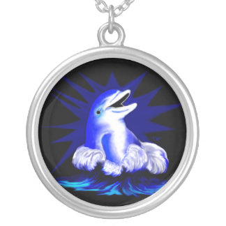 Laughing dolphin silver plated necklace