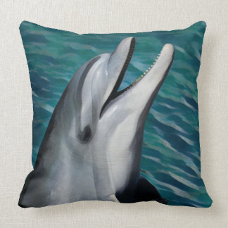 Laughing Dolphin Throw Pillow