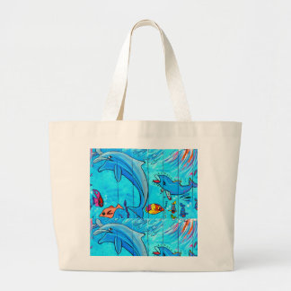 laughing dolphins jumbo tote bag
