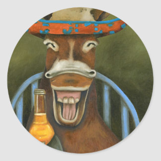 Laughing Donkey Classic Round Sticker