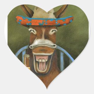 Laughing Donkey Heart Sticker