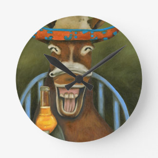 Laughing Donkey Round Clock