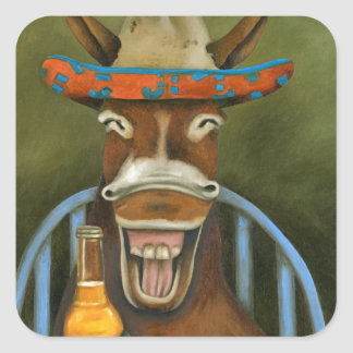 Laughing Donkey Square Sticker