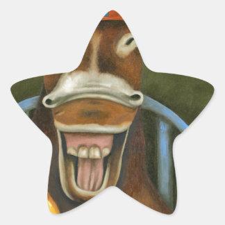 Laughing Donkey Star Sticker