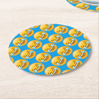 Laughing Emoji (blue background) Round Paper Coaster