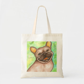 Laughing French Bulldog tote