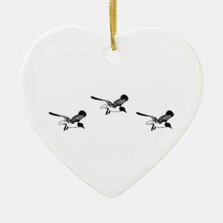 Laughing Gulls Flying Ceramic Ornament
