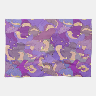 Laughing Hippos - purple Kitchen Towel