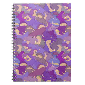 Laughing Hippos - purple Notebook