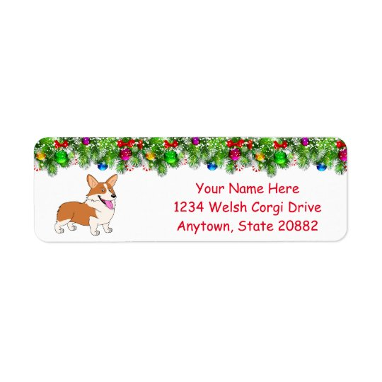 Laughing Holiday Welsh Corgi Return Address Label