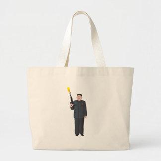 Laughing Kim Jong-un firing a gun into the air Large Tote Bag