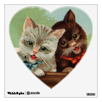 Laughing Kittens Heart Wall Decal