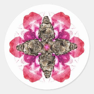 Laughing Monk (Hotei) Lotus Round Stickers Sticker