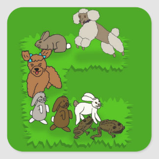 Laughing Poodles Chasing Bunnies & Toads Square Sticker