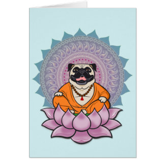 Laughing Pug Mandala Greeting Card