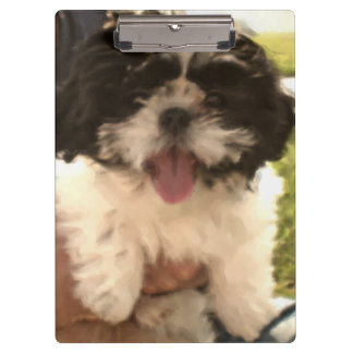 Laughing Shih Tzu Watercolor Print Clipboard