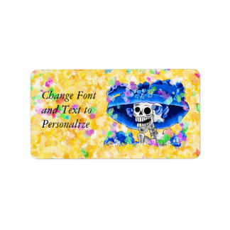 Laughing Skeleton Woman in Blue Bonnet