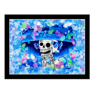 Laughing Skeleton Woman in Blue Bonnet on Blue Post Cards
