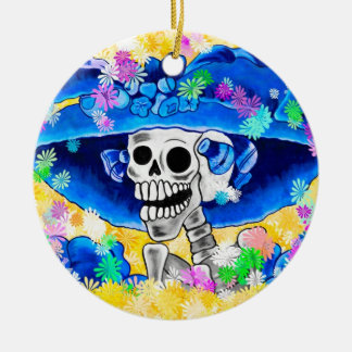 Laughing Skeleton Woman in Blue Bonnet on Yellow Round Ceramic Ornament