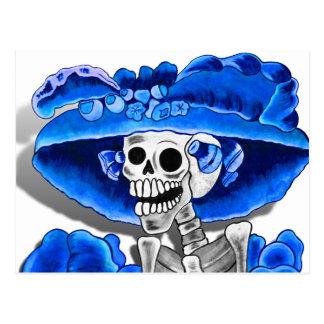 Laughing Skeleton Woman in Blue Bonnet Postcards