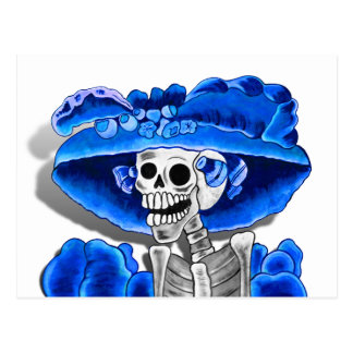 Laughing Skeleton Woman in Blue Bonnet Post Cards