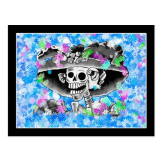 Laughing Skeleton Woman in Bonnet on Blue Post Card