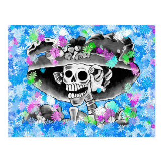 Laughing Skeleton Woman in Bonnet on Blue Postcards