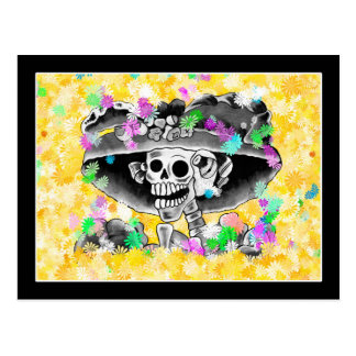 Laughing Skeleton Woman in Bonnet on Yellow Post Card