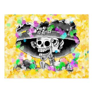 Laughing Skeleton Woman in Bonnet on Yellow Postcard