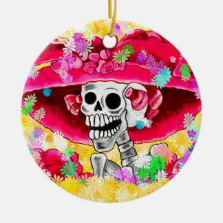 Laughing Skeleton Woman in Red Bonnet Round Ceramic Ornament