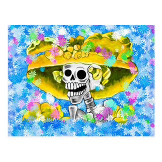 Laughing Skeleton Woman in Yellow Bonnet on Blue Post Cards