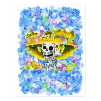 Laughing Skeleton Woman in Yellow Bonnet Post Card
