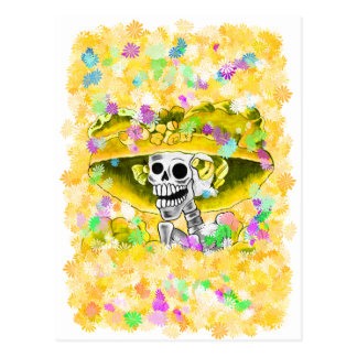 Laughing Skeleton Woman in Yellow Bonnet Post Cards