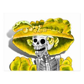 Laughing Skeleton Woman in Yellow Bonnet Postcards