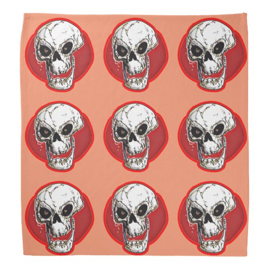 laughing skull comic style red contour do-rags