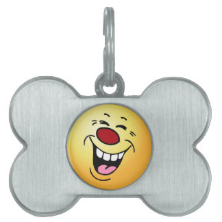 Laughing Smiley Face Grumpey Pet ID Tag