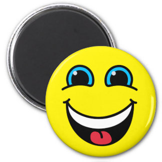 Laughing Smiley Face Yellow 2 Inch Round Magnet