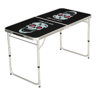 Laughing White Skull Red Glitter Glowing Eyes Pong Table