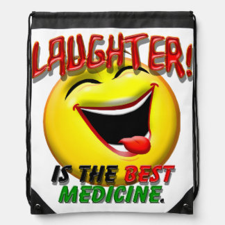 Laughter is the Best Medicine Drawstring Bag