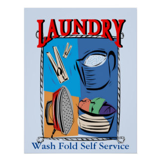 Laundry Items, iron, pins, soap Poster