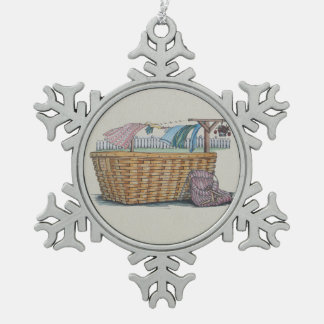 Laundry On Clothesline Snowflake Pewter Christmas Ornament