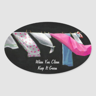Laundry on Line: Keep it Green: Original Art Oval Sticker