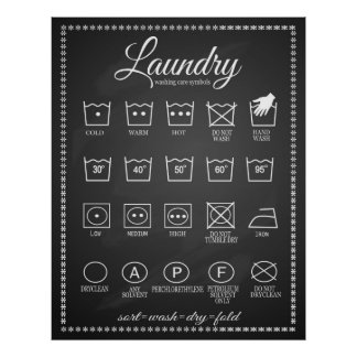 Laundry poster infographic symbols