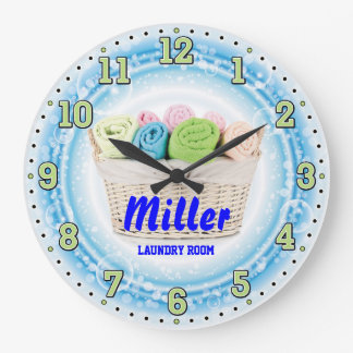 Laundry Room Personalizable Wall Clock